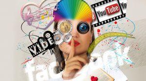 vrouw vol symbolen en logo's i.v.m. sociale media