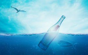 flessenpost in het water met een vis en een meeuw