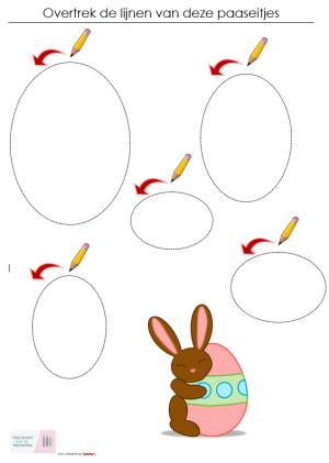 Voorbeeld uit het werkblad: Overtrek de lijnen van deze paaseitjes